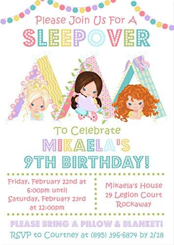 Girls Sleepover Birthday Party Invitations, Slumber Birthday Party Invitations, Sleepover Party Supplies, Pajama Party Invitations, Slumber Party Invitations