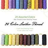 24 Colors Thread for Leather,17 Colors Waxed Thread, and 7 Colors Hand Stitching Thread for Hand Sewing Leather and Bookbinding