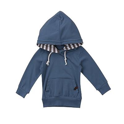 Toddler Baby Boy Blue Hoodies Cozy Long Sleeve Hooded Romper Sweatshirt for 0-24 Months Autumn