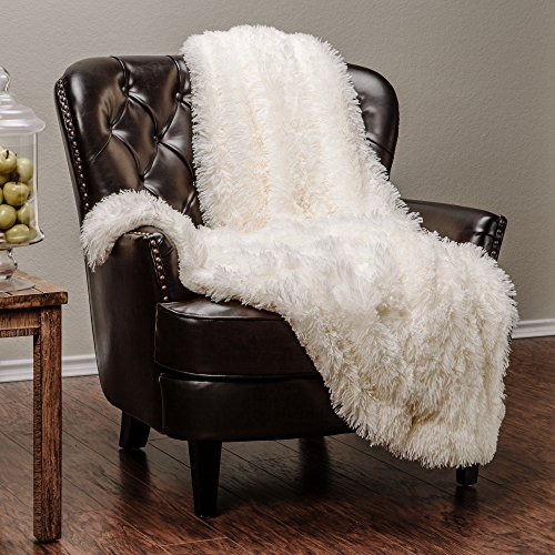 "Price comparison product image Chanasya Super Soft Long Shaggy Chic Fuzzy Fur Faux Fur Warm Elegant Cozy With Fluffy Sherpa Ivory White Microfiber Throw Blanket (60"" x 70"") - Solid Shaggy Ivory White"