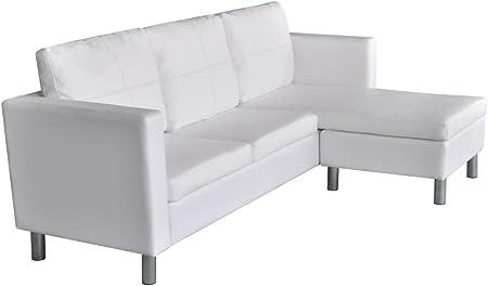 Festnight Sof¨¢ de Piel con 3 Asientos Blanco 188 x 122 x 77 cm
