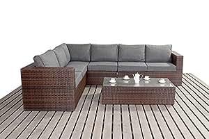 Puerto Royal Prestige de ratán muebles de jardín grande sofá en esquina set–negro