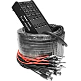 Seismic Audio - SAJLP-16x4x100-16 Channel 100 Foot XLR Low Profile Snake Cable with 4 TRS Returns - Circuit Board Snake for Recording, Stage, Studio PA DJ use