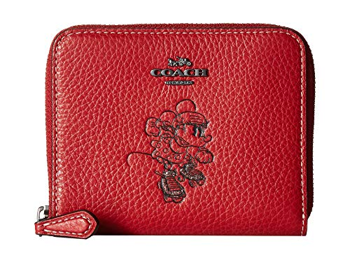 Coach Boxed Minnie Mouse Small Zip Around Leather Wallet - Red