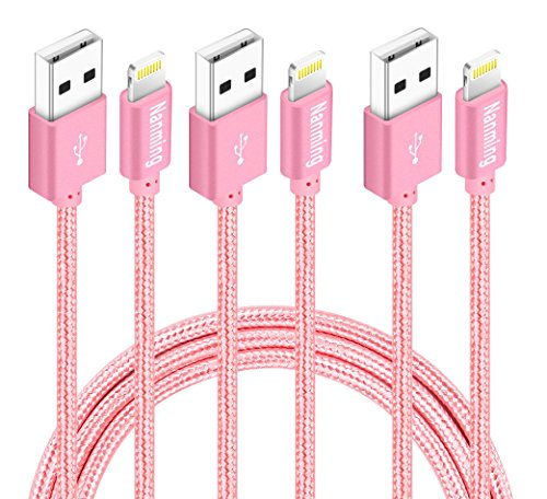 NANMING iphone Charger,3Pcs 3FT 6FT 10FT Extra Long Nylon Braided Charging Cable Cord 8-Pin Lightning to USB Cable iphone Charger for iPhoneX 8/8Plus 7/ 7Plus/6/6s/6 plus/6s plus,5/5s/5c,iPad(Rose)