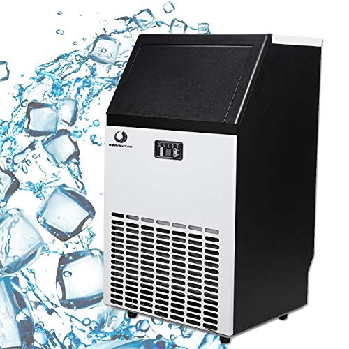 BEAMNOVA Commercial Ice Maker Machine Freestanding Ice Making Machine Built in Counter for Restaurant Bubble Bar, 35 LB Storage Bin, 68-100 LB Daily Ice Making Capacity, 6 Month Warranty ()