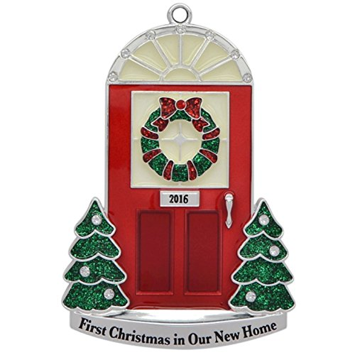2016 Annual Door (in Black Box) Step Doorway with Glow-in-the-Dark Windows Keepsake Harvey Lewis™ Silver-plated Ornament - Made with Swarovski® Elements