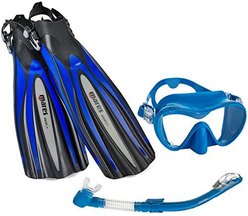 Calypso Set - Mares Excel Plus Fin Calypso Mask Snorkel Scuba Gear Set, Black/Blue, Regular