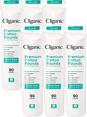 Cliganic Premium Cotton Rounds for Face 540 Count  Makeup Remover Pads Hypoallergenic LintFree  100