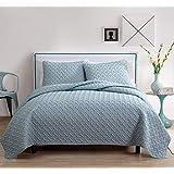 VCNY Home Victoria Classics nia-qlt-fuqu-in-bl Nina Full Queen Embossed Colcha, Azul, Matrimonial/Queen, 1, 1