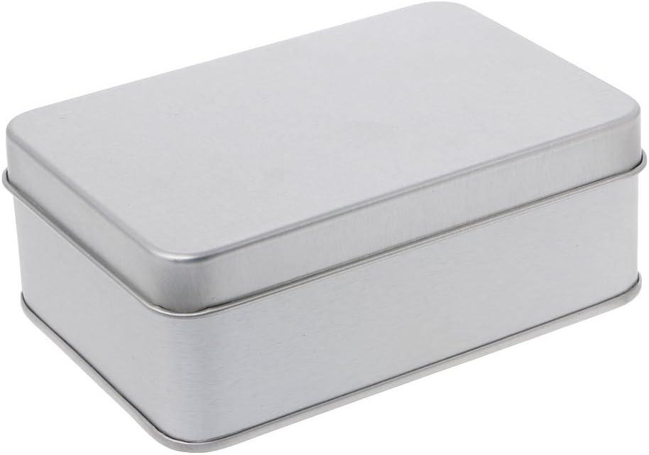 Tinaa - Caja de Hierro pequeña para Almacenamiento Rectangular, Plata, 05