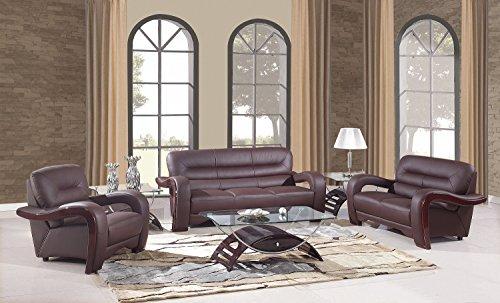 Blackjack Furniture 992-BROWN Sofa Set Leather Match, Lovese