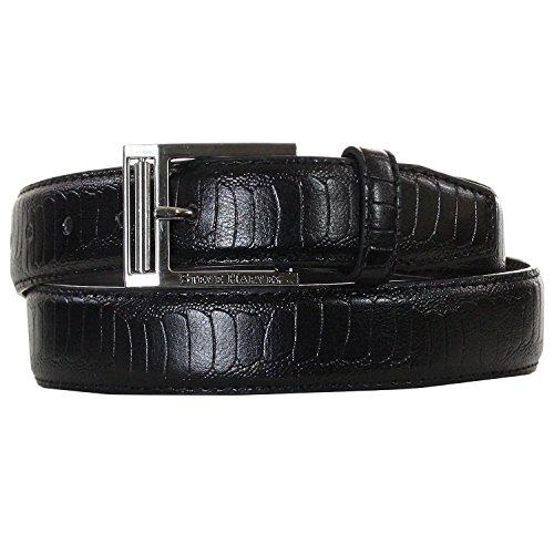 Steve Harvey 32mm Embossed Black Ostrich PU Dress Belt & Logo Buckle (32)