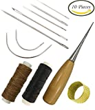 Arts & Crafts : 7 Pieces Curved Upholstery Hand Sewing Needles Sewing Needles with Leather Waxed Thread Cord 1 Brown 1 Black and Drilling Awl and Thimble for Leather Repair