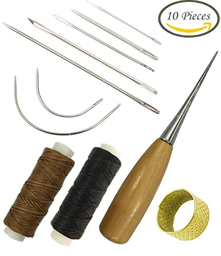 7 Pieces Curved Upholstery Hand Sewing Needles Sewing Needles with Leather Waxed Thread Cord 1 Brown 1 Black and Drilling Awl and Thimble for Leather Repair (Black Waxed Leather)
