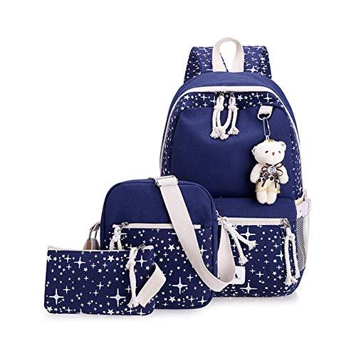 Impression Étoile Cartable Pour Étudiant Grande Dos Sac Mode Féminine Blue À École Sac VHVCX Mignon Capacité Fille Canvas Deep Adolescents 3Pcs Voyage x8Uqz7wH