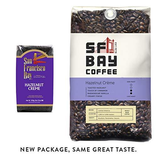 SF Bay Coffee Hazelnut Crème Whole Bean 2LB (32 Ounce) Flavored Medium Roast (Packaging May Vary) (San Francisco Whole Bean Coffee)