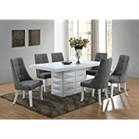 Kings Brand Milan 7 Piece White Modern Rectangle Dinette Dining Room Table with Grey Chairs