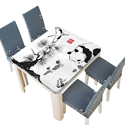 PINAFORE Table in Washable Polyeste Collection Bird Cedar Panda Bear Traditional Japanese Painting Style Art Hieroglyph Image Banquet Wedding Party Restaurant Tablecloth 45 x 45 INCH (Elastic Edge)
