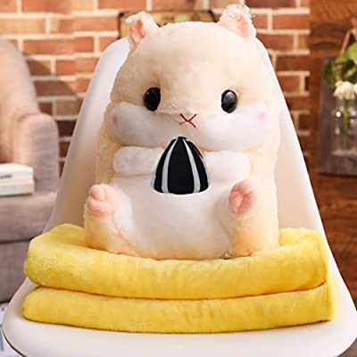 "ChezMax Cute Plush Decorative Throw Pillow Blanket Set for Home Office Stuffed Animal Toys Cushion for Kids Beige Hamster with Sunflower Seeds 11.8""x17.7"": Home & Kitchen"