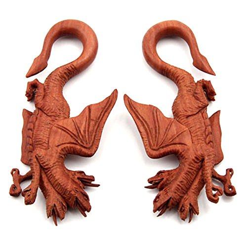 JewelryVolt Pair Three Headed Dragon Organic Sawo Wood Ear Hook Taper Plugs (Gauge Organic Sawo Wood)