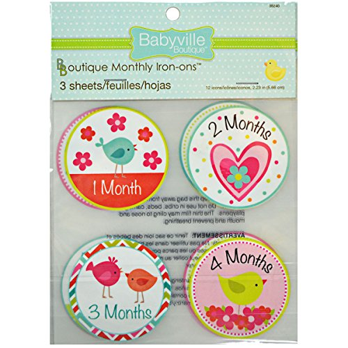 Babyville Boutique 12 Count Monthly Iron-Ons, Little Birds and Hearts (Baby Iron Ons)