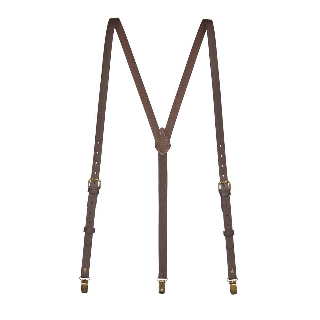 SuspenderStore Men's Buckle Strap 5/8 Inch Wide Leather Clip Suspenders - BROWN