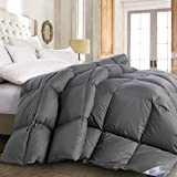 ROSECOSE Luxurious All Seasons Goose Down Comforter King Size Duvet Insert Gray 1200 Thread Count 750+ Fill Power 100% Cotton Shell Hypo-allergenic Down Proof With Tabs (King,Gray)