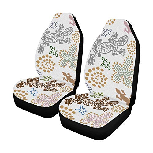 (INTERESTPRINT Bohemian Style Lizards, Stones, Sand, Fantasy Flowers Auto Seat Covers Full Set of 2, Vehicle Seat Protector Car Mat Covers, Fit Most Vehicle, Cars, Sedan, Truck, SUV, Van)