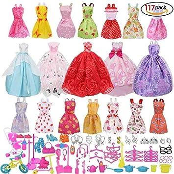 Amazon.es: Runfon Accesorios muñecas, Accesorios de Vestir para Las Muñecas, 14pcs Verano Faldas Vestidos +5 pcs Vestido de Novia +98 Accesorio de Muñecas: ...