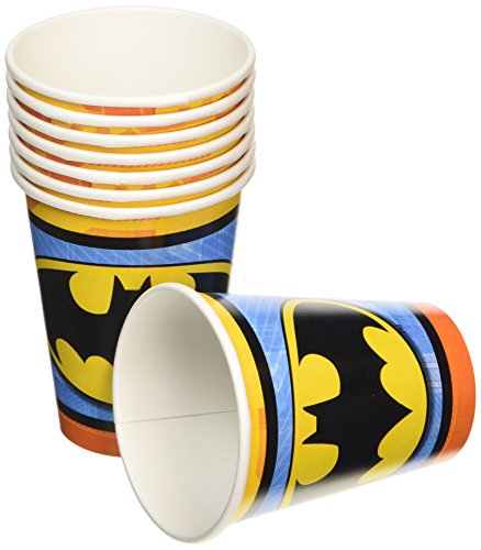 Amscan AMI 581386 Batman 9 oz. Paper cups, AMI 581386 1, Multicolored