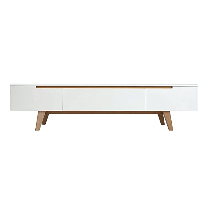 Miliboo - Mueble TV escandinavo Blanco Brillante y Fresno ...