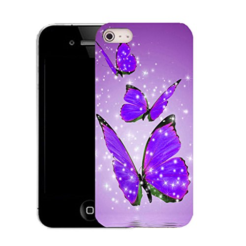 Mobile Case Mate IPhone 4s clip on Silicone Coque couverture case cover Pare-chocs + STYLET - purple alluring butterflies pattern (SILICON)