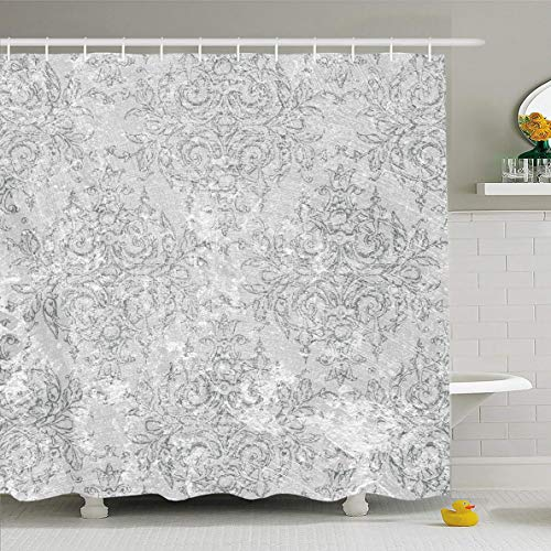 Ahawoso Shower Curtain 66x72 Inches Antique Back White Vintage Toile Aged Delicate Detailed Formal Old Waterproof Polyester Fabric Set with -