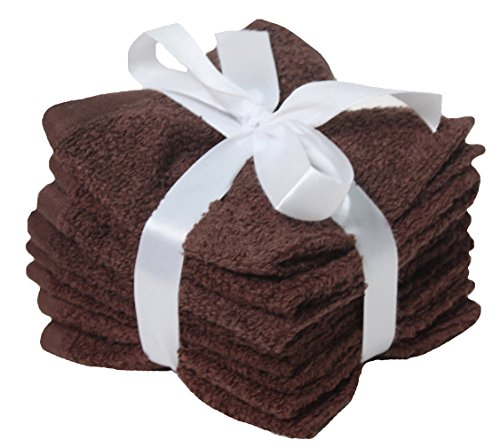 J&M Home Fashions Premium 8-Piece Cotton Washcloth Set, 12x12, Hotel & Spa Quality, Super Soft and Ultra Absorbent Face Towels for Bathroom & Washroom-Coffee Brown