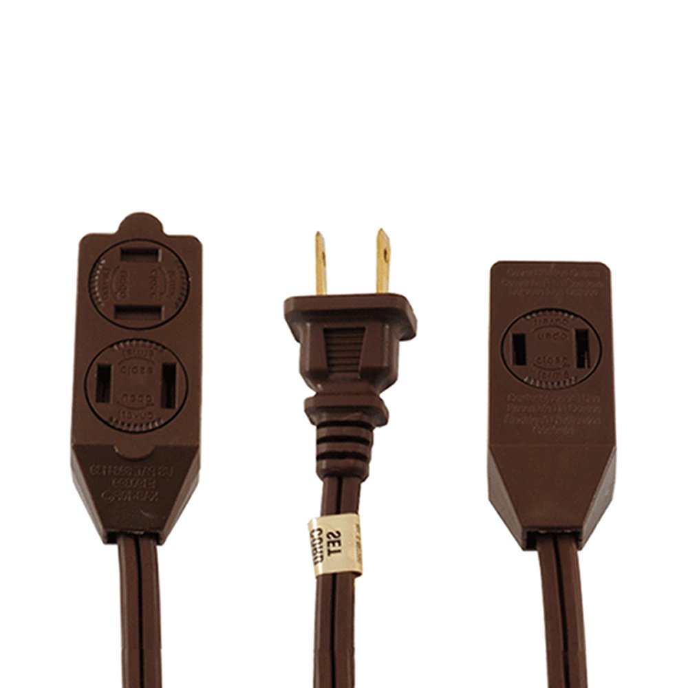 (1 Pack) Uninex Brown 20ft 3 Outlet Polarized Household Extension Cord Locking/Rotating Safety Cover UL