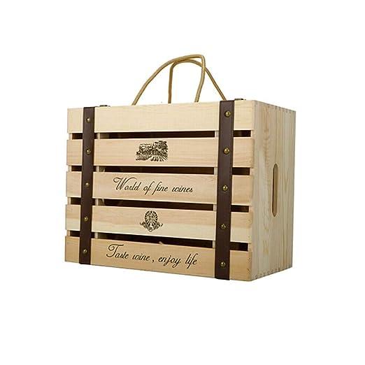 WYJW Caja de Vino de Madera Maciza, Seis Cajas de Madera ...