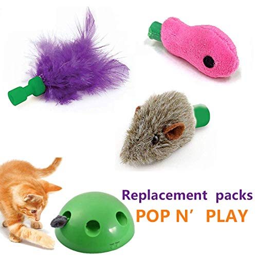 GETIEN Cat Toys Replacement Packs Including One Mouse One Fish and One Feather for Interactive Motion Cat Toys 2