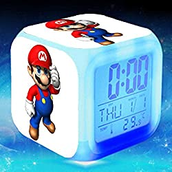 Enjoy Life : Cute Digital Multifunctional Alarm Clock With Glowing Led Lights and Super Mario sticker, Good Gift For Your Kids, Comes With Bonuses Part 2 (10)