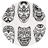 iPrint Stylish Round Tablecloth [ Kabuki Mask Decoration,Japanese Nogaku Theatrical Masks Emotion Expression Culture Decorative,Black and White ] Fabric Home Tablecloth Ideas