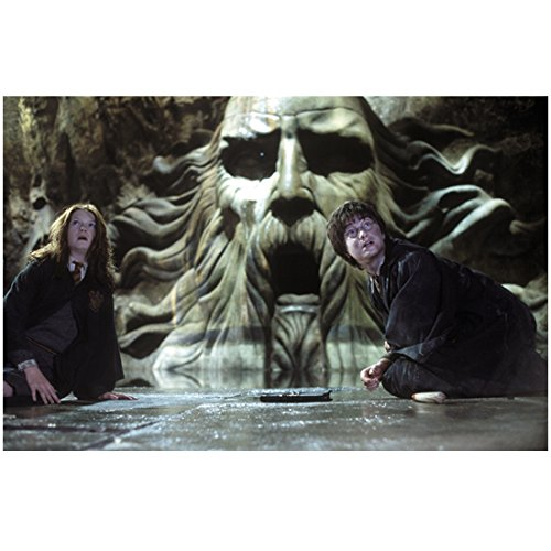(Harry Potter 8 Inch x 10 Inch Photo Emma Watson & Daniel Radcliffe on Floor Creepy Carved Face Behind Them kn )