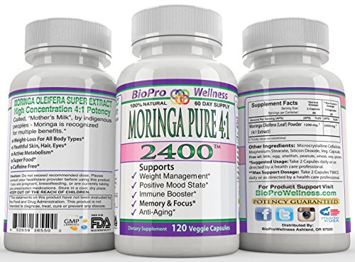 Moringa Oleifera 4 1 Extract Focus Brain Mood Weight Management Memory Max Strength Pure 2400Mg Whole Super Food Plus Immune Boost Anti Aging Diet Supplement Senior Organic Tree Leaf Powder Pill 120Ct