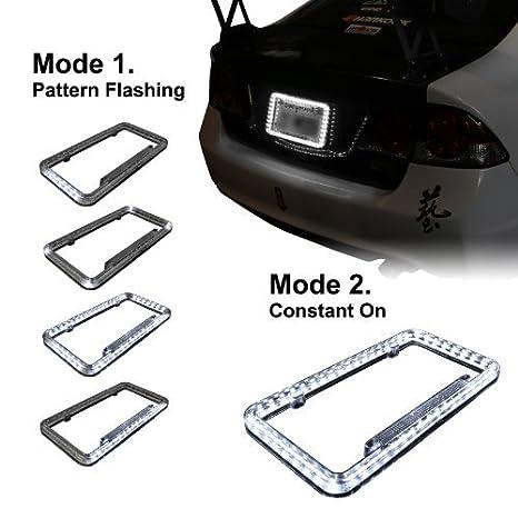 Amazon.com: 12 V 54 LED Color Light License Plate Frame (White ...