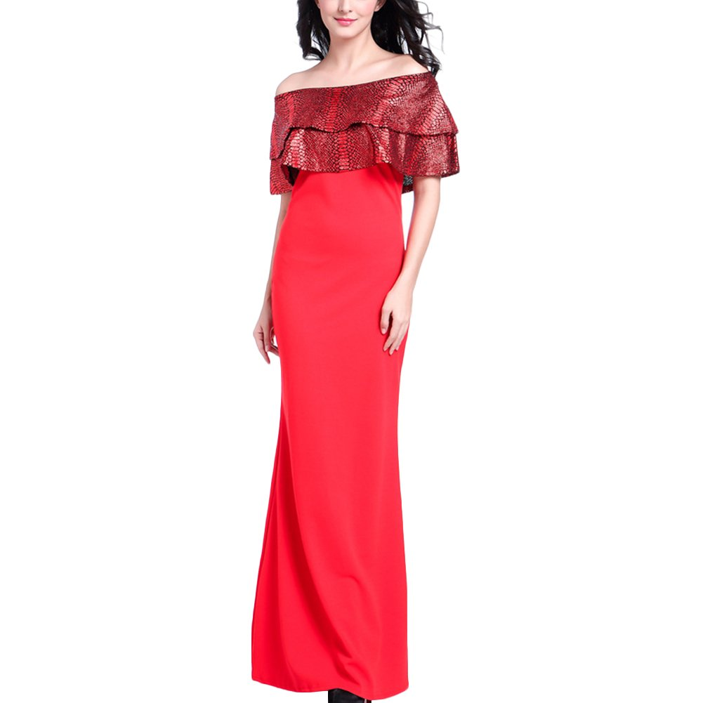 ffdebc9ad09 Women Off Shoulder Sleeveless Ruffle Maxi Dress Evening Gown Tube Dress at  Amazon Women s Clothing store