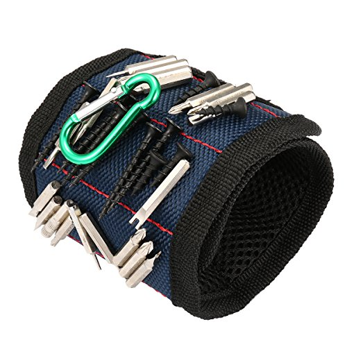 SAFETYON Magnetic Wristband with Strong Magnets and Adjustable Strap for Holding Screws Nails Bolts Drill Bits DIY Magnet Wrisband Tool Belt for Handyman Men Women Dark Blue