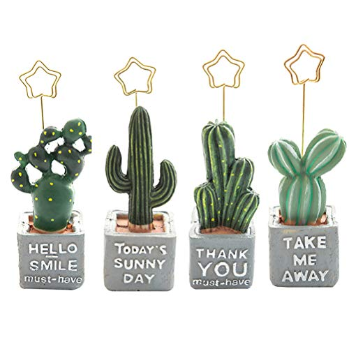 YeahiBaby 4Pcs Table Number Holder Place Card Stands Holders Cactus Clip Photo Holder Table Decorations by YeahiBaby