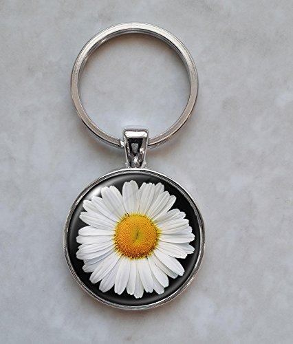 Daisy White Flower Keychain -