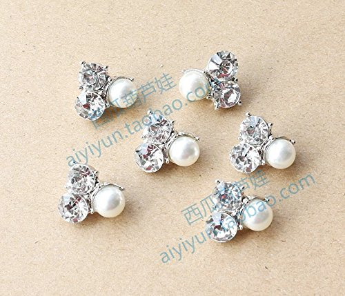 16mm imitation pearl diamond triangle button sweater shirt collar small angle decorative pearl button cardigan metal buttons for Sewing Crafts Handmade Clothes DIY