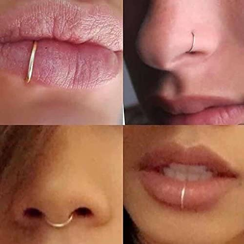 Fake Sterling Nose Ring Lip Ring Septum Cartilage Tragus Helix Ring Piercing 20g 6mm Silver Amazon Co Uk Beauty