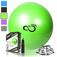 Exercise Ball -Professional Grade Exercise Equipment Anti Burst Tested with H...